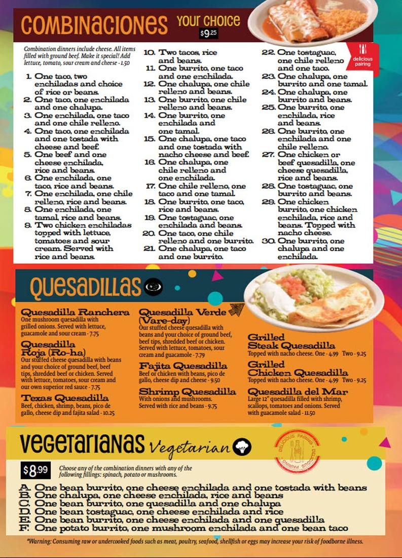 Combinations Quesadillas Vegetarian